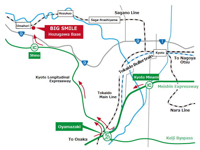 HozuRiver full-day rafting access map Access by car